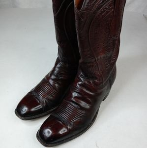 Lucchese men's brown leather vintage cowboy boots